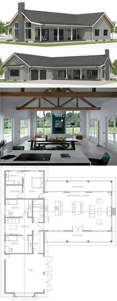I like the floor plan pictured here, but the link does not provide a website or specific information for this houseplan. I love all the windows and open floor plan pictured. Barn House Plans, Dream House Plans, Small House Plans, House Plans With Pool, Cool House Plans, One Floor House Plans, Little House Plans, Guest House Plans, Beautiful House Plans