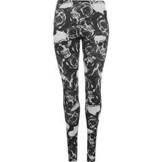 Heather Skull Rose Print Leggings ($12) ❤ liked on Polyvore featuring pants, leggings, black, rayon pants, elastic waist pants, stretchy leggings, full length leggings and stretch leggings