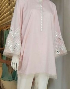 Best 12 in love with this colour – SkillOfKing. Kurti Sleeves Design, Kurta Neck Design, Sleeves Designs For Dresses, Dress Neck Designs, Blouse Designs, Simple Pakistani Dresses, Pakistani Fashion Casual, Pakistani Dress Design, Pakistani Outfits