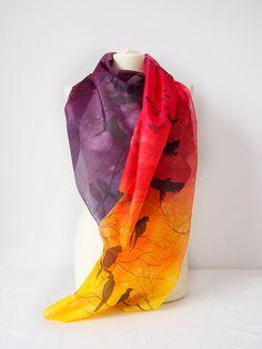 Scarf Sunset  silk scarf Birds in Sunset  handpainted by MinkuLUL