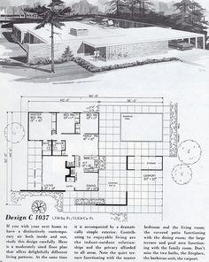Modern home design Modern Floor Plans, Modern House Plans, House Floor Plans, Mcm House, Casa Patio, Vintage House Plans, Googie, Architecture Plan, Mid Century House
