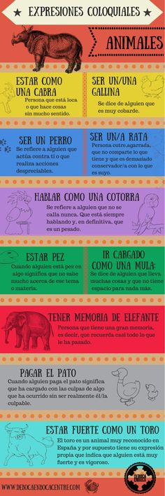 Expresiones coloquiales con animales/Colloquial Spanish expressions with animals. Spanish Idioms, Spanish Grammar, Spanish Culture, Spanish Vocabulary, Spanish Words, Spanish English, Spanish Language Learning, Spanish Teacher, Spanish Classroom