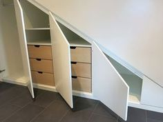 DIY Cabinets for sloping ceilings homemade - Mommy child - Fitted cupboard for a sloping ceiling or under the stairs Made to measure in our carpentry - Loft Storage, Stair Storage, Attic Bedrooms, Built In Wardrobe, Under Stairs, Diy Cabinets, Home Renovation, Room Inspiration, Sweet Home