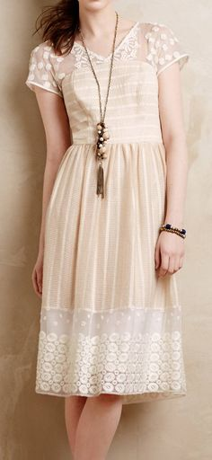 Lengthen a plain cotton dress with cream lace and create a chic boho look like this anthropologie Poema Lace Dress www. Pretty Outfits, Pretty Dresses, Beautiful Dresses, Cute Outfits, Lace Dresses, Gorgeous Dress, Dress Lace, Moulinette, Looks Style
