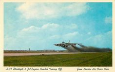 U.S. Air Force Boeing B-47 Stratojet taking off from Lincoln Air Force Base