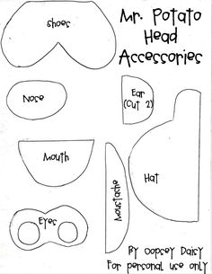 Quiet Book Templates | Oopsey Daisy  This one actually has templates for Mr. Potato Head - which are surprisingly hard to find thanks to Hasbro's fantastic legal team