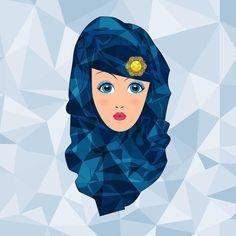 'Geometric Woman - The Wonder Blue Veil' Spiral Notebook by icaroferracini