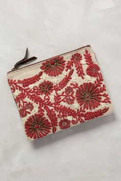 """Mayenne Embroidered Pouch Wool, leather; cotton lining Plastic bead detail Inner pocket Zip closure Imported Style No. 36565893 Dimensions  7.5""""H, 9.5""""W, 0.5""""D"""