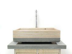Beton Holzwaschtisch, einzigartige Kombination aus Beton und Holz