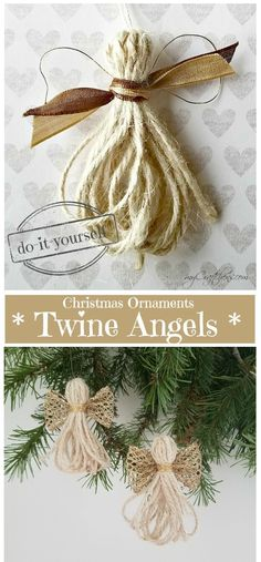 Christmas Ornaments: Twine Angels – myCraftchens Diy Projects, Christmas Ornaments, Holiday Decor, Home Decor, Xmas Ornaments, Homemade Home Decor, Christmas Lawn Decorations, Christmas Jewelry, Christmas Ornament