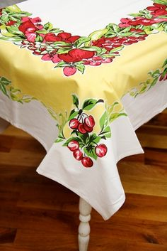 Love these vintage tablecloths