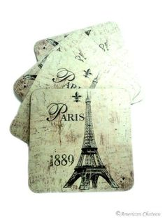 """French Set of 4 Deco Paris Wood Beverage Drink Coasters by American Chateau. $12.99. French Design. Set of 4 Coasters. Paris and Eiffel Prints. Wood and Cork Construction. This very unique and colorful set of 4 coasters is simply stunning. Each set includes 4 coasters with an Eiffel Tower Paris design. These coasters are made of wood with an underside of cork to protect tabletops. Approximate Dimensions: 4 1/8"""" by 4 1/8"""". Coaster Crafts, Paris Design, Made Of Wood, Drink Coasters, Home Kitchens, Deco, Beverage Drink, Unique, Design Set"""