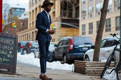 Navy double-breasted suit. NYFW: Men's AW16 Day 1 — Men's Fashion Post