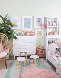 a pastel nursery to grow with your child eclectic art kid room Nursery Room, Girl Nursery, Girls Bedroom, Nursery Decor, Nursery To Toddler Room, Pastel Bedroom, Pastel Nursery, Pastel Girls Room, Casa Color Pastel
