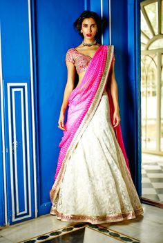 Anita Dongre Festive Collection 2014 White Embroidered #Lehenga With Pink #Choli.