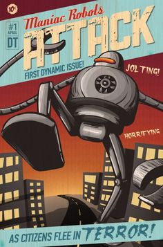 Inspiration   Vintage Style Comic Book Design With Robots In Adobe Illustrator