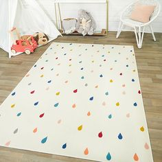 Hearthstone Raindrops 5'3 X 7' Area Rug In Ivory - Add color and contemporary color to your space with the Hearthstone Raindrops Rug. This eye-catching rug is crafted of polypropylene and boasts a colorful raindrop design that lends a lively touch to your floor space. #PlayroomSeating Playroom Design, Playroom Decor, Playroom Ideas, Playroom Paint, Modern Playroom, Toddler Playroom, Playroom Table, Kids Playroom Rugs, Playroom Seating