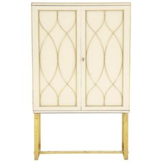 Mid-Century Ivory Opaline Glass Cabinet with Brass Inlays, Italy | From a unique collection of antique and modern cabinets at…
