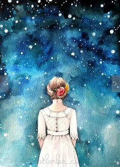 She stood with the star-filled universe stretched out in front of her and wondered how she fit into it all // Starry Night Sky and Girl by Heatherlee Chan - watercolor, ink, print