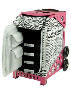 ZUCA Sport Artist Case Pink Frame Carry On Suitcase with Zebra Sport Insert Bag and Vinyl Pouches - Overstock™ Shopping - Great Deals on Zuca Carry On Upright Luggage Makeup Case, Makeup Kit, Makeup Ideas, Zuca Bag, Nylons, Professional Makeup Bag, Utility Pouch, Frame Bag, Bag Organization