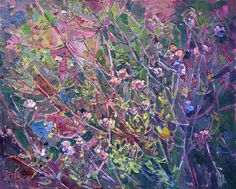 Abstract landscape oil painting in a contemporary expressionist style, by Erin Hanson.