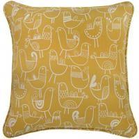 "18"" x 18"" Pillow in Bird Flock Saffron Yellow & Cream"