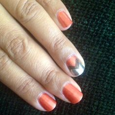 Easy chevron design nail art using Duri Cosmetics nail polish.