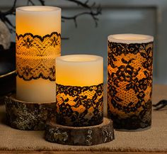 Candles with black lace. Very pretty. Halloween? http://amzn.to/2s1GFnp