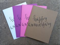 Hand Lettered Happy Anniversary Greeting Card with envelope