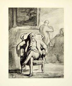 1938 Rotogravure Zuhorer Listen Honore Daumier Portrait Music Audience XDI8