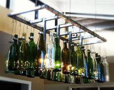 AuBergewohnlich Recycelte Blau Weinflasche Kronleuchter