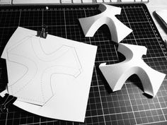 First step to to cut out template and crease using a ballpoint pen. Water colour paper was selected to build the structure. First step to to cut out template and crease using a ballpoint pen. Water colour paper was selected to build the structure. Folding Architecture, Concept Architecture, Design Despace, Paper Design, Origami Paper Art, Paper Crafts, Paper Structure, Kirigami Patterns, Tropical Architecture