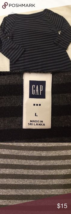 GAP black & gray striped boat neck ¾ sleeves. Boat neck. Soft jersey. Mild signs of wear. No stains or holes. Perfect for your French capsule wardrobe. GAP Tops