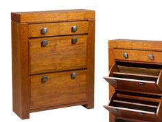 Zapatero madera color nogal.Colección Nature.  www.actuadecor.com