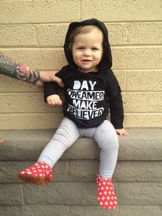 Day Dreamer Make Believer kids hoodie. Lightweight & adorable. Hipster baby