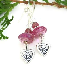 #Hearts with #Spirals #Valentines #Earrings, Pink Lampwork Swarovski Crystal #Handmade #Jewelry by #ShadowDogDesigns - $25.00