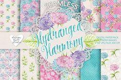 Watercolor Hydrangea flowers digital paper | Digital Papers | Hydrangea patterns | elegant floral patterns | summer patterns | chic pink and aqua patterns