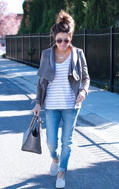 Casual Grey Layers // leather jacket + stripes + denim + slip ons