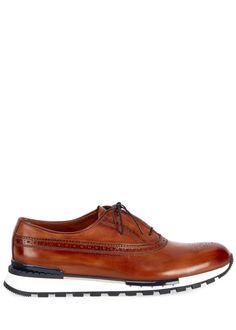 Berluti Men's Venezia Leather Brogue Sneakers - Bergdorf Goodman Leather Brogues, Calf Leather, Bergdorf Goodman, Sperrys, Boat Shoes, Calves, Luxury Fashion, Lace Up, Ol