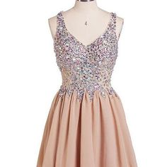 Hanyige Exquisite A-line V-neck Chiffon Homecoming Dress with Rhinestone