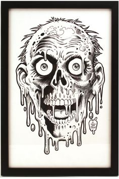 """This is not a print. It is a drawing by William Stout. """"Tarman"""" appeared in the horror/comedy classic, Return of the Living Dead. If I were rich. Zombie Tattoos, Spooky Tattoos, Zombie Drawings, Art Drawings, Zombie Face, Desenho Tattoo, Horror Comics, Movie Poster Art, Arte Horror"""