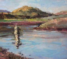 Chiniak Bay-fly fishing oil painting,Alaska, painting by artist Mary Maxam