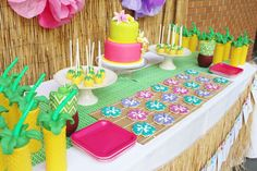 Colorful Hawaii birthday party! See more party ideas at CatchMyParty.com!