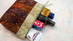 Large Quilted Batik Organizer Zipper Bag in Brown and Beige Tones