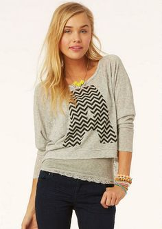 Chevron Pullover Long Sleeve - View All Tops - Tops - dELiA*s