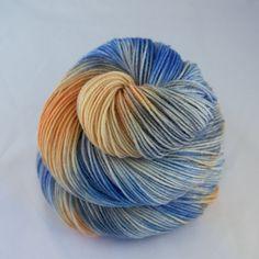 Hand Dyed Sock Yarn hand dyed wool tonal sock by JellybeansYarns