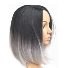 Women's Ombre Grey Style Short Bob Synthetic Hair Lace Front Heat Resistant Wigs #HotHair #FullWig