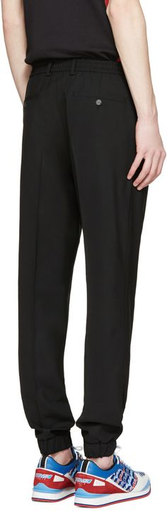 Kenzo: Black Wool Elasticized Trousers   SSENSE