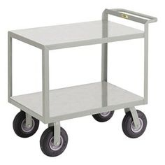 Shelf Truck, Flush, 2 Shelf, 60x30, Gray by Little Giant. $578.19. Shelf Truck, Flush Shelves, Load Capacity 1200 lb., Welded Steel Construction, Gauge Thickness 14, Powder Coat Finish, Color Gray, Overall Length 66 In., Overall Width 30 In., Overall Height 38 In., Number of Shelves 2, Caster Size 9 In., Caster Type 2 Rigid, 2 Swivel, Caster Material Pneumatic, Capacity per Shelf 600 lb., Distance Between Shelves 19-1/2 In., Shelf Length 60 In., Shelf Width 30 In., Handle...