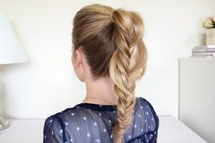 50 Fishtail Braid Hairstyles for 2019 - Summer Braids Fishtail Ponytail, Fishtail Braid Hairstyles, Prom Hairstyles, Ponytail Styles, Hair Styles, Ponytail Ideas, Coiffure Hair, Ponytail Tutorial, Red Carpet Hair